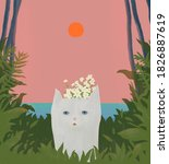 cat at the tropical beach with... | Shutterstock . vector #1826887619