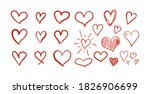 vector set of hand drawn red...   Shutterstock .eps vector #1826906699