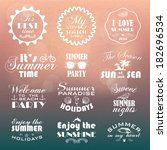 summer labels with hand drawn... | Shutterstock .eps vector #182696534