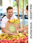 greengrocer owner of a small... | Shutterstock . vector #182697440