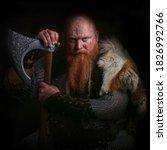 Portrait Of Viking Holding Axe