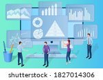 businessmen analyze data on a... | Shutterstock .eps vector #1827014306