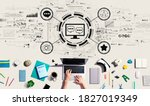 social media theme with person...   Shutterstock . vector #1827019349