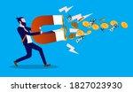 attract money   man holding... | Shutterstock .eps vector #1827023930