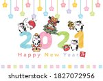 2021 new year's card... | Shutterstock .eps vector #1827072956