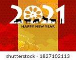 cow new year's card zodiac...   Shutterstock . vector #1827102113