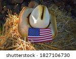 American Flag And Straw Cowboy...