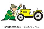 gardener and tractor  | Shutterstock .eps vector #182712713