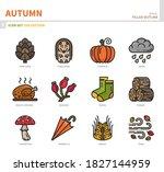 autumn season icon set filled... | Shutterstock .eps vector #1827144959