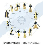 set of zodiac signs icons.... | Shutterstock .eps vector #1827147863