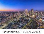 Nagoya Japan, night city skyline at Nagoya railway station and business center