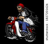 Biker With Bearded And Retro...