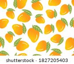 mangoes with green leaves...   Shutterstock .eps vector #1827205403