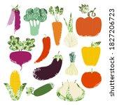 set of hand drawn vegetables.... | Shutterstock .eps vector #1827206723