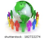 earth planet globe and group of ... | Shutterstock . vector #182722274