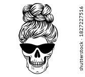 mom life skull. female skull...   Shutterstock .eps vector #1827227516