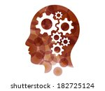 colorful puzzle gear head... | Shutterstock .eps vector #182725124