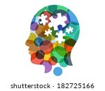 Stock vector colorful rainbow spectrum puzzle head presentation vector illustration graphic template isolated on 182725166