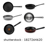 realistic pan and skillet...   Shutterstock .eps vector #1827264620
