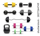 realistic dumbbell and... | Shutterstock .eps vector #1827264749