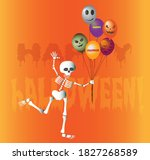 dancing skeleton with a... | Shutterstock .eps vector #1827268589
