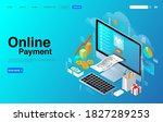 online payment with computer... | Shutterstock .eps vector #1827289253