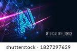 ai hexagon text in futuristic... | Shutterstock .eps vector #1827297629
