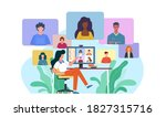 video conference. woman at desk ... | Shutterstock .eps vector #1827315716