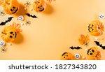 top view of halloween crafts ... | Shutterstock . vector #1827343820