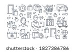 food delivery horizontal poster ... | Shutterstock .eps vector #1827386786