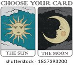 tarot cards the sun and the... | Shutterstock .eps vector #1827393200