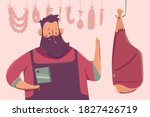 cute butcher with meat vector...   Shutterstock .eps vector #1827426719