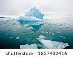 Small photo of A wide low angle view of melting sea ice floes in still waters of Northern Arctic with iceberg and glacial wall in background.Climate Crisis and Breakdown.Climate emergency