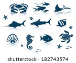 marine life icon set | Shutterstock .eps vector #182743574