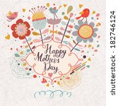 happy mothers day card in... | Shutterstock .eps vector #182746124