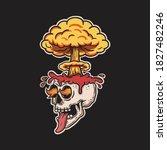 skull brain exploding and...   Shutterstock .eps vector #1827482246