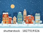 winter night city in retro...   Shutterstock .eps vector #1827519326