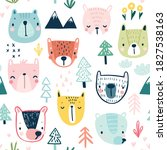 seamless pattern with cute... | Shutterstock .eps vector #1827538163