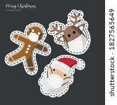 vector image. stickers of santa ... | Shutterstock .eps vector #1827565649