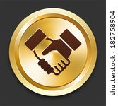 handshake icons on gold button... | Shutterstock .eps vector #182758904