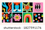 hand drawn abstract shapes ... | Shutterstock .eps vector #1827591176