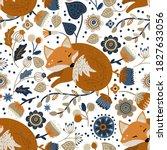 nordic scandinavian fox animal...   Shutterstock .eps vector #1827633056
