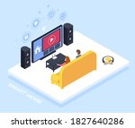 smart home controlled though tv ... | Shutterstock .eps vector #1827640286