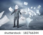 a businessman's face covered in ... | Shutterstock . vector #182766344