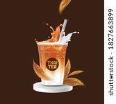 iced thai tea latte takeaway... | Shutterstock .eps vector #1827663899