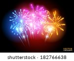 bright fireworks display vector ... | Shutterstock .eps vector #182766638