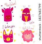 set of cute cartoon animals. ...   Shutterstock .eps vector #1827682799
