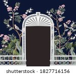 border with peonyl trees  bird...   Shutterstock .eps vector #1827716156