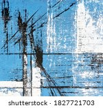 Abstract Blue Acrylic Painting...