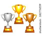 set of trophy cups.